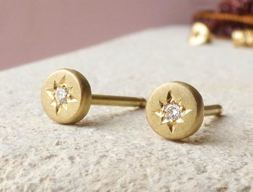 Sevilla ethical stud earrings, 18ct Fairtrade gold