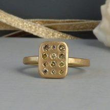 Pandora green diamond ethical ring, 18ct Fairtrade gold