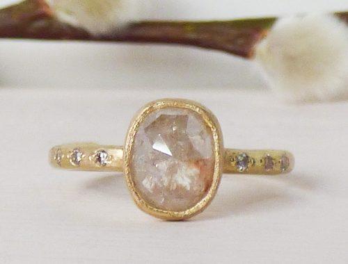 Sophia ethical engagement ring with 1.5 carat rose cut cream diamond, 18ct Fairtrade gold