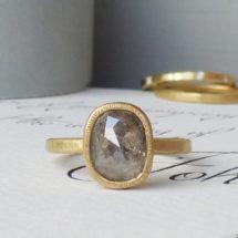 Rose cut grey diamond ethical engagement ring