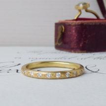 Orianna a Fairtrade wedding ring with 22 CanadaMark diamonds