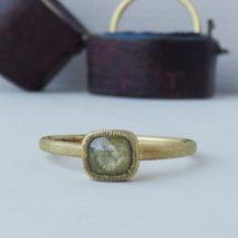 Lyra green rose cut diamond ethical engagement ring
