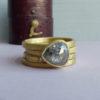 Ethelinda ethical engagement ring with pear rose cut grey diamond