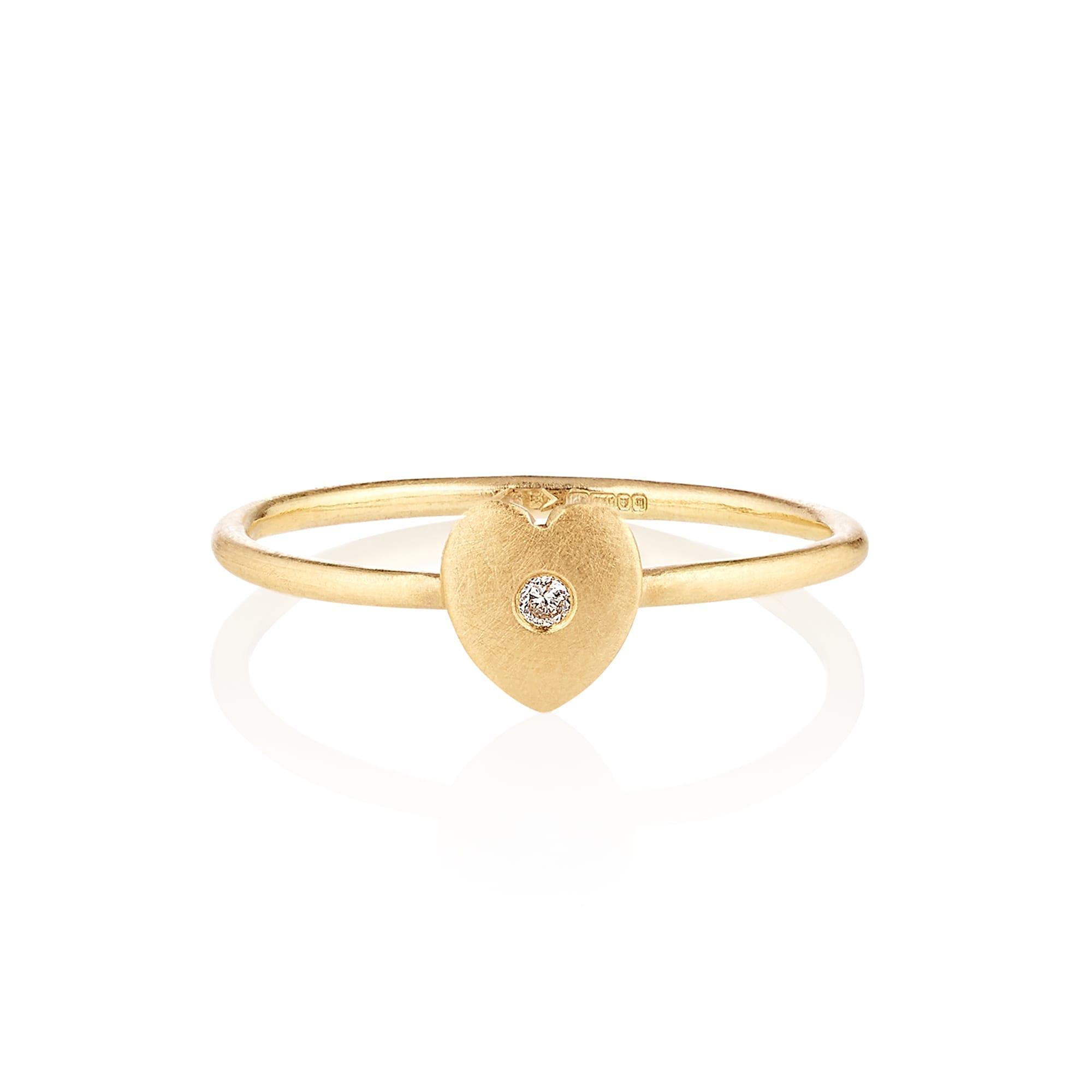 Cherish-Diamond ethical ring with gold heart and CanadaMark Diamond