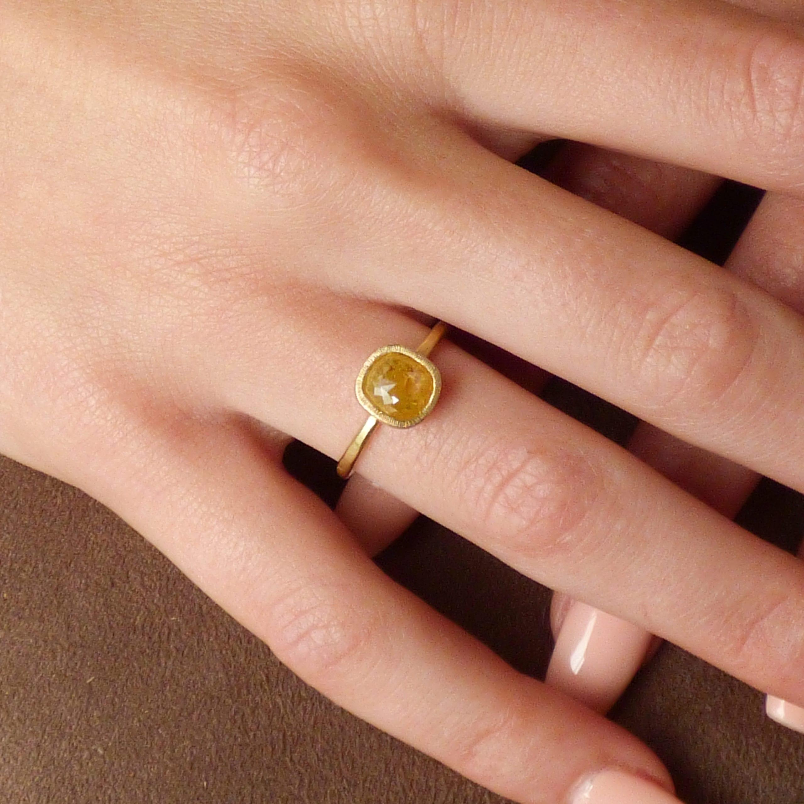 Haruko yellow diamond ethical engagement ring on hand